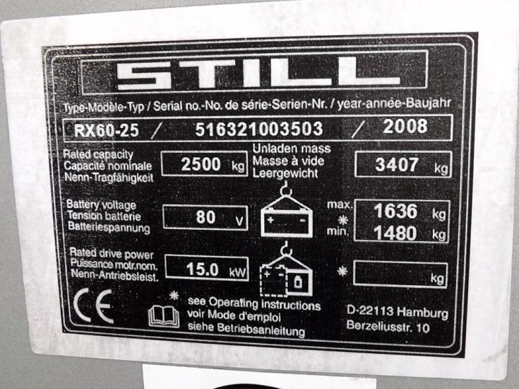 Заводские характеристики Still RX 60-25